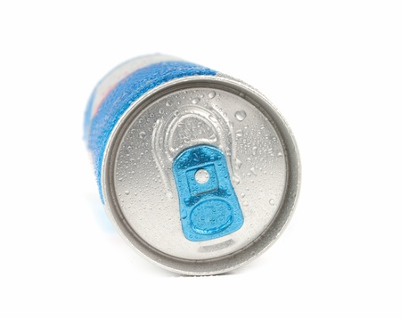 energy drink in blue metal can