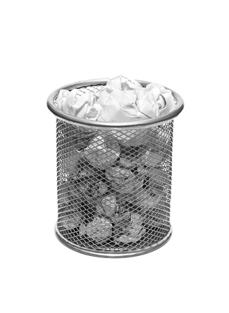 metal trash bin from paper isolated on white Stock Photo - 17093727