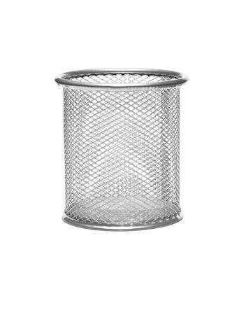 wastebasket: metal wastebasket on white background