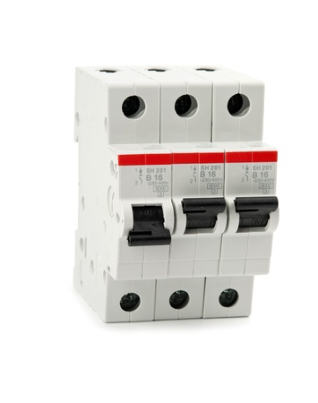 busbar: automatic knife-switch on  isolated. Close up Stock Photo