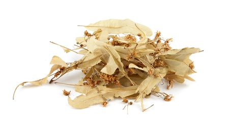 dried linden flowers isolated on white photo