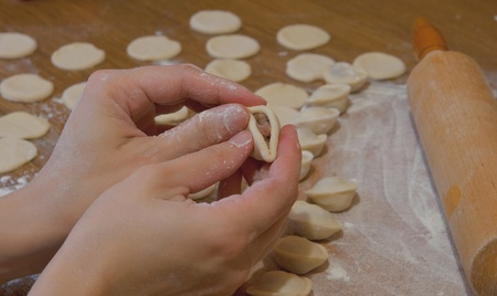preparation of meat dumplings photo