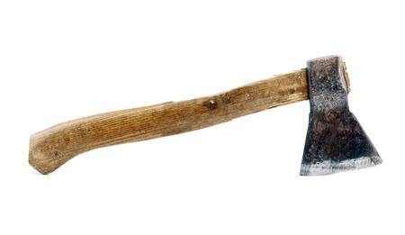 axe with wooden handle isolated on white  Stock Photo