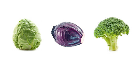 globular: three cabbage isolated on white Stock Photo