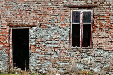door casing: old dirty window, doors and dirty wall