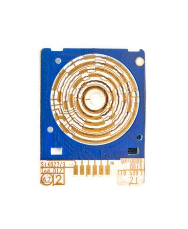 circuito electrico: aislado azul placa de circuito el�ctrico Foto de archivo