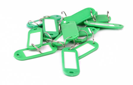 collection of greenl key fobs on a white background photo