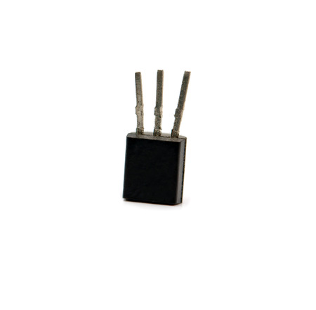transistor: transistor encased in plastic with 3 leads