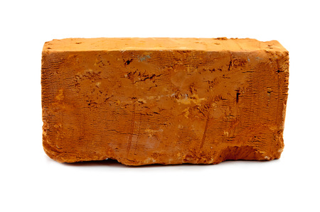 clay brick: red solid brick on a white background