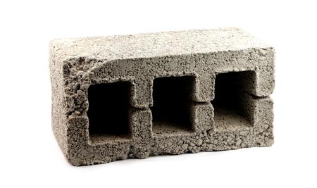 hormig�n: bloque de hormig�n aisladas en blanco  Foto de archivo