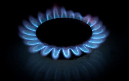 stovetop: blue gas stove on black