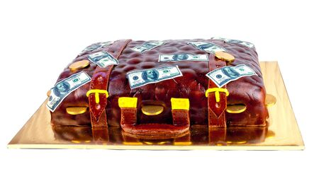 portmanteau: Unusual exclusive cake in the form of a suitcase with money