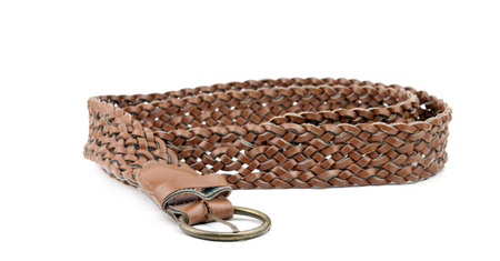 buckle: brown leather belt with buckle isolated on white