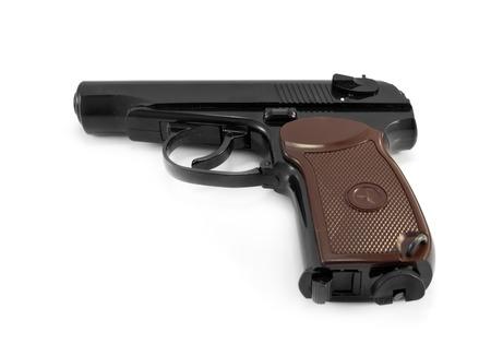 pm: Soviet 9mm PM (Makarov) gun isolated on white background