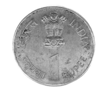rupee: one indian rupee coin isolated on white background Stock Photo