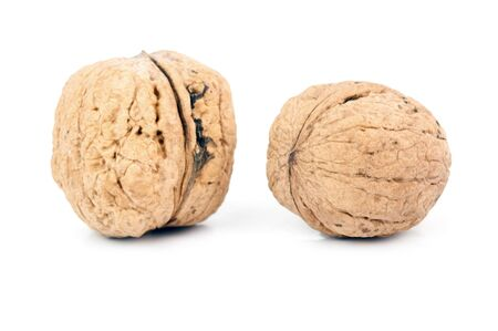 high angles: two walnuts are isolated on a white background