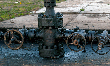 wellhead: newly installed wellhead in the oil and gas industry Stock Photo