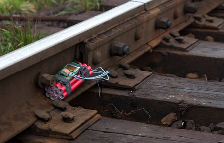 dreary: a bomb on the railway. Close up