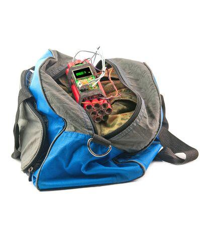 detonator: time bomb with detonator is in bag isolated on white