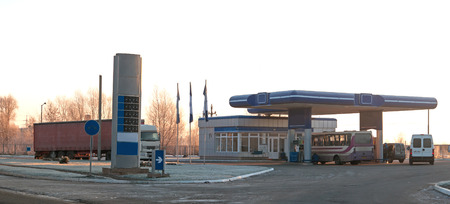 euro area: gas station in spring Stock Photo