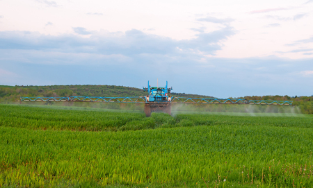 pesticides: tractor in the agricultural field during the processing of Pesticides