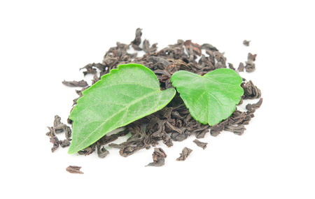 black tea with leaf isolated on white background Stock Photo