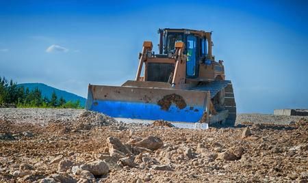 bulldozer a moving land shovel photo