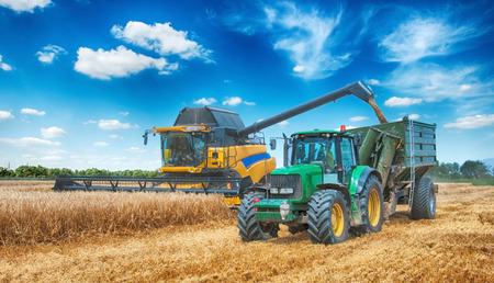 combine harvester working on a wheat field Archivio Fotografico