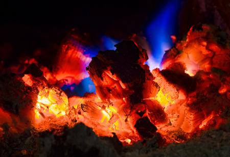 A blue fire close up