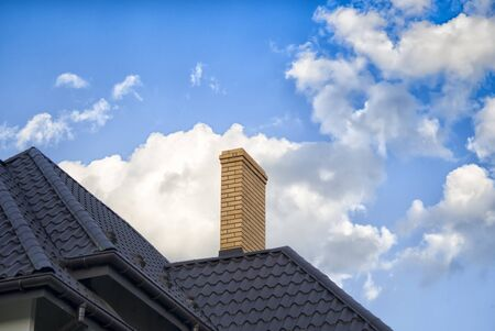 Close up chimney on the roof Stock Photo