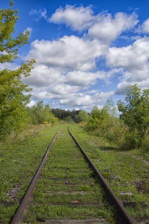 A railway through the summer green fields. Beautiful green railway tree landscape sky. Beautiful landscape and railway. Railway transport.