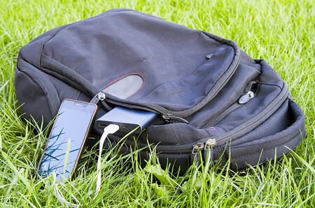 power bank charges a smartphone on the grass Stock Photo
