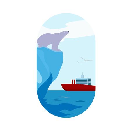 polar landscape with ship Illustration