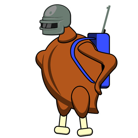 Flat character chicken in helmet with backpack and gun Illusztráció