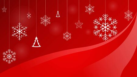 Christmas snowfall on red background with snowflake, christmas tree and stars