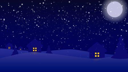 Christmas blue background home, snowflake, christmas tree and stars Çizim