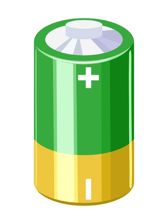 energize: Illustration of battery on white background