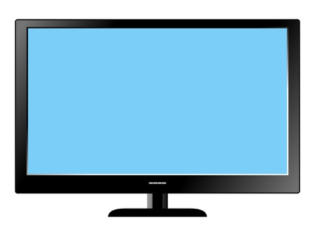 Illustration of Led Television set on white background Vector