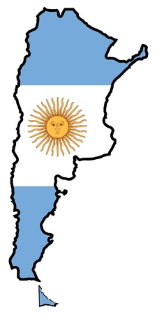 Illustration of flag in map of Argentina Vector