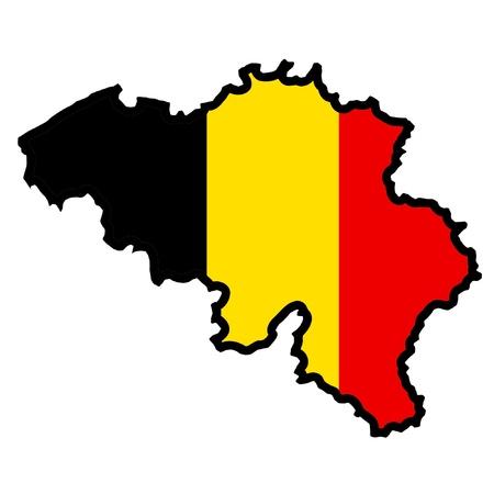 belgium: Illustration of flag in map of Belgium