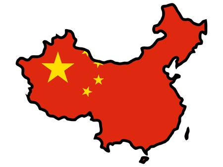 map of china: Illustration of flag in map of China
