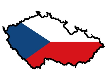 czech republic: Illustration of flag in map of Czech Republic