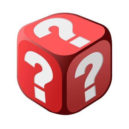 red cube: Dice con punti interrogativi