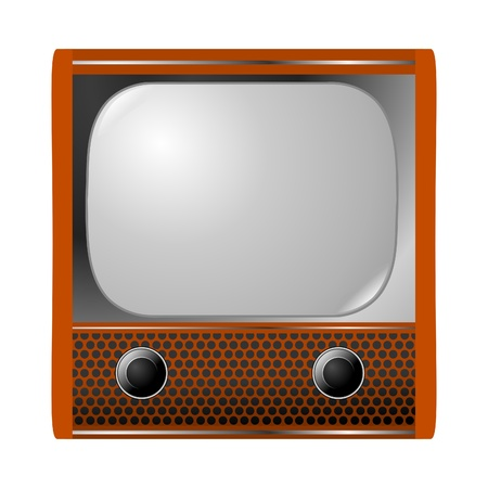 vintage television: old television on white