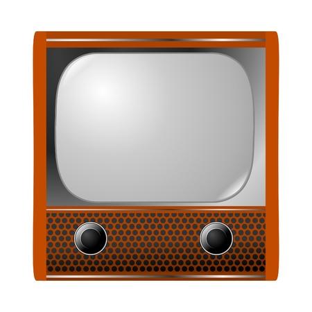 vieux téléviseur sur blanc