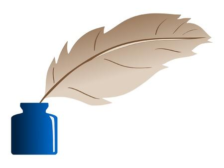 calligraphy pen: Pluma y tintero Vectores