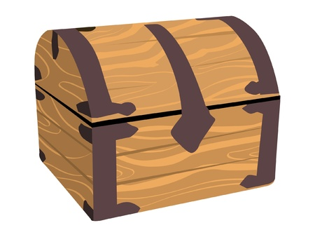 wooden treasure or pirate chest Illustration