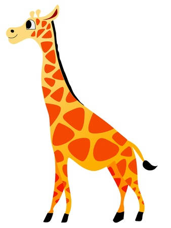 Funny character little giraffe in cartoon style Illustration