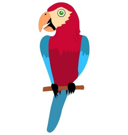 Funny character little parrot in cartoon style Illustration