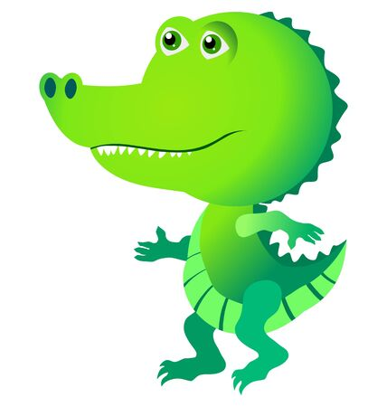 Funny character little crocodile in cartoon style Stock Vector - 10967441